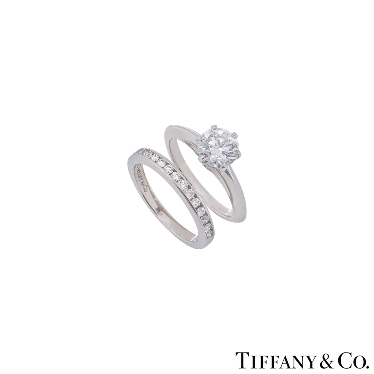 Tiffany & Co. Platinum Diamond Ring 1.17ct G/VVS1 XXX With Diamond Half Eternity Ring
